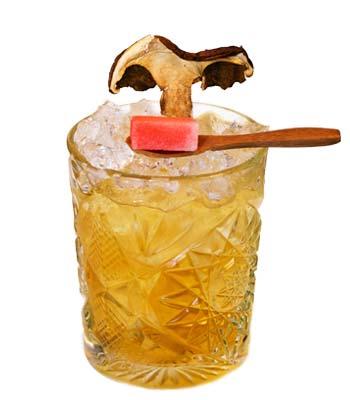 foto di un cocktail con il liquore ai funghi porcini calabro