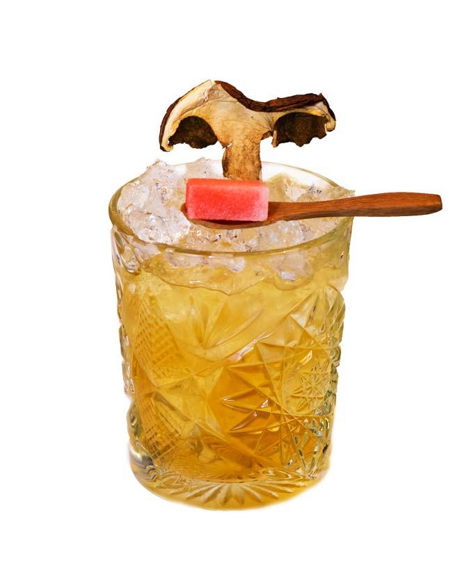 un cocktail preparato con Liquore di porcino calabro liquori